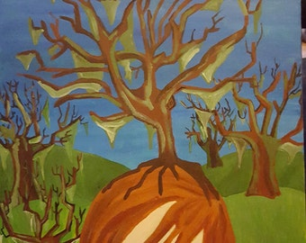 Surreal Portrait of a Girl with Trees Growing from her Head.
