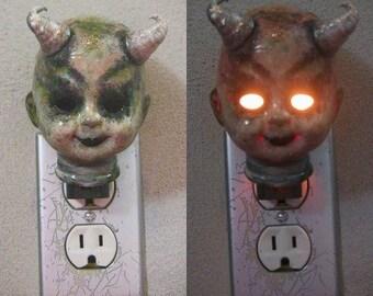 Porcelain Demon  Baby  Head Electric Plug In Nightlight