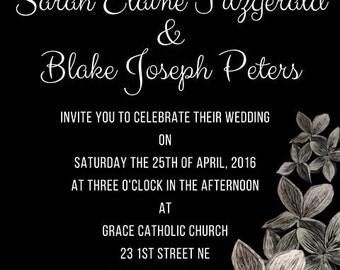 Etched Flower Wedding Invitation