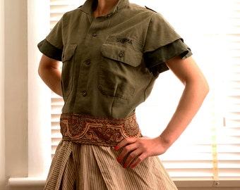 Customised German Military Cropped Shirt-Double Flared Sleeves with Exotic Embroidered Tape Hem Boho Look
