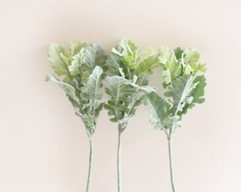 3pcs - 12pcs Small Dusty Miller Lamb Ears Leaf Leaves Silk Flower for DIY Wedding Bridal Bouquet Boutonniere Corsage Table Centerpieces
