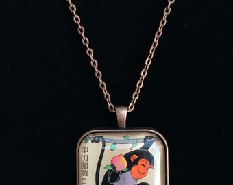 Year of the Monkey Chinese Postage Stamp Necklace