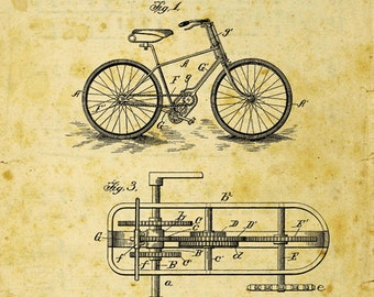Bicycle Patent Drawing Metal Sign, Vintage, Sport, Den Décor, Office  JB1017