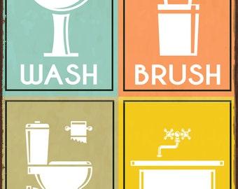 Wash Brush Flush Soak Metal Sign, Bath Décor, Powder Room, Home Décor HB7165