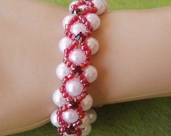 Hand made royal bracelet red crystal and white beads