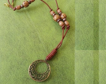 Handmade beaded necklace leather and wood beads