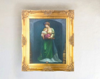 20x24 Oil Painting On Canvas Reproduction of Mother and Child Large Gold Frame