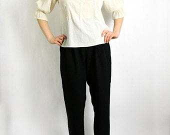 Vintage 90's Ivory White Peasant Lace Blouse Puffed Sleeeves - Small to Medium