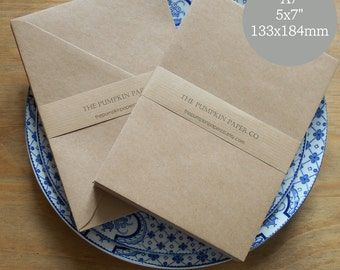 50 Kraft Envelopes A7 5x7 Kraft Envelopes recycled rustic for wedding invitations card making craft supplies True size 5.1/4x7.1/4 133x184mm