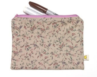 Small flowers zippered pouch, pencil case or make up pouch