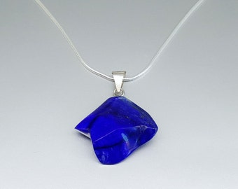 Mens Lapis Lazuli rock pendant with Sterling silver chain.Gift for Men//Man jewelry/Mens Accessory/Jewelry For Men/Masculine jewelry.