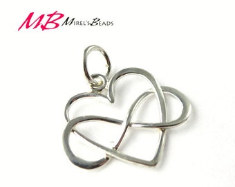 15x14mm Infinity Heart Charm, Heart Pendant with Closed Jump Ring