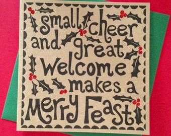 Shakespeare linocut Christmas card. 'Small cheer and great welcome makes a merry feast'