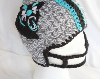 Crochet PANTHERS Hat - Infant Size Football Helmet - Carolina Panthers Crochet Helmet for baby Boys and baby Girls - Panthers Helmet Newborn