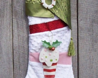 "Christmas stocking, holiday, handmade, heirloom, family tradition, classic, Christmas Eve, presents, winter, SOCK'NS ""Ice Cream Dream"