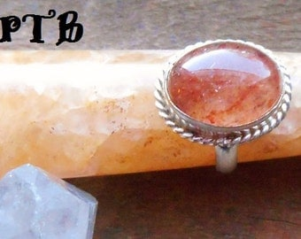 Creativity ~ Authentic Orange Aventurine Gemstone Ring sz 7 3/4