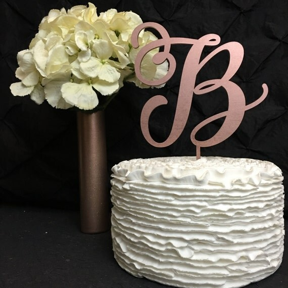 Monogram Cake Topper, Letter Cake Topper, Wedding Cake Topper,  Custom Cake Topper, Wedding Monogram, Glitter Cake Topper, Rose Gold Cake