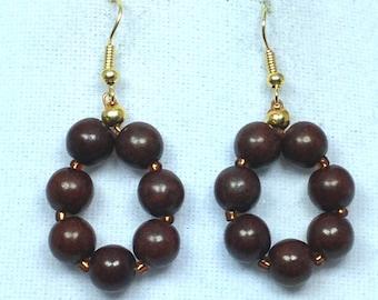 Gold and Brown Hoop Earrings