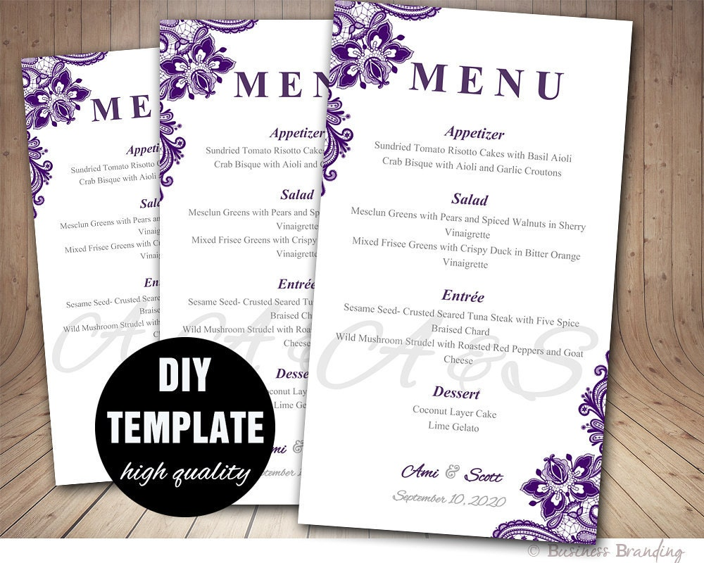 Purple Wedding Menu Card Template DIY Wedding Menu Template
