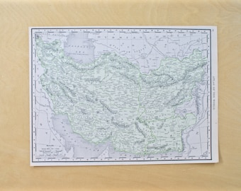 1913 - Iran Map - Large Antique Map - Beautiful Old Map of Iran - Large Vintage Map - Colorful Atlas Map - Gift - Home Decor