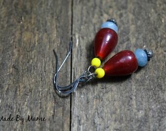 Lampwork Glass and Gemstone Boho Drops, Oxidized Silver Earrings, Red Blue Yellow Earrings, Angelite Rondelles, Bohemian Gypsy Artisan Drops