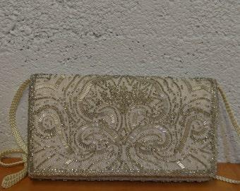 La Regale Ivory Beaded Clutch - Small Fancy Handbag - Wedding Clutch - Beaded Evening Bag