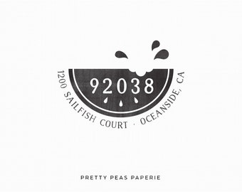 2x2 Watermelon Custom Return Address Stamp - Clear