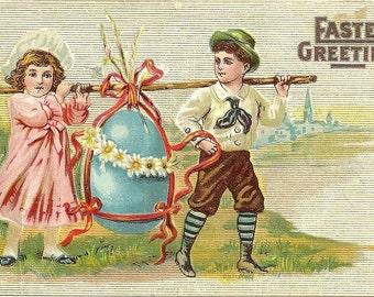 Children Carrying Large Blue Easter Egg Embossed Vintage Postcard PM 1910
