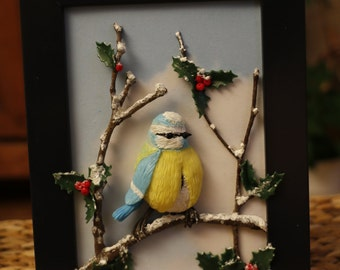 Small tit in winter... Painting 3D made porcelain cold saeljana. Snow, Holly, bird.