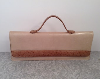 """Long Tan Ostrich Clutch Purse with Moveable Handle 13"""" long Mid Century 1950s"""