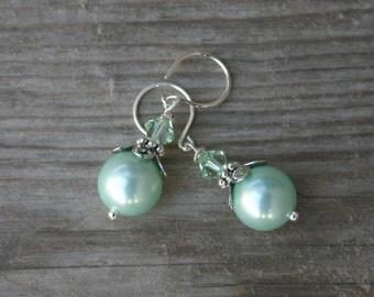 Mint Green Pearl Earrings, Pearl and Crystal Dangle Earrings, Pearl Jewelry