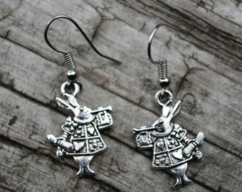 Silver Toned White Rabbit with Trumpet Alice in Wonderland Nickel Free Earrings ITEM 429A