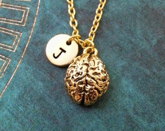 Brain Necklace SMALL Brains Necklace Personalized Jewelry Gothic Necklace Anatomical Brain Charm Human Brain Pendant Gold Brain Jewelry
