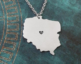 Poland Necklace Poland Jewelry Poland Pendant Charm Country Necklace Polish Gift Long Distance Relationship Personalized Heart Necklace