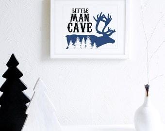 Little Man Cave Wall Art, Rustic Boys Room Decor, Navy Blue Outdoors Art Print, Woodland Nursery Art, Rustic Boy Room Wall Art