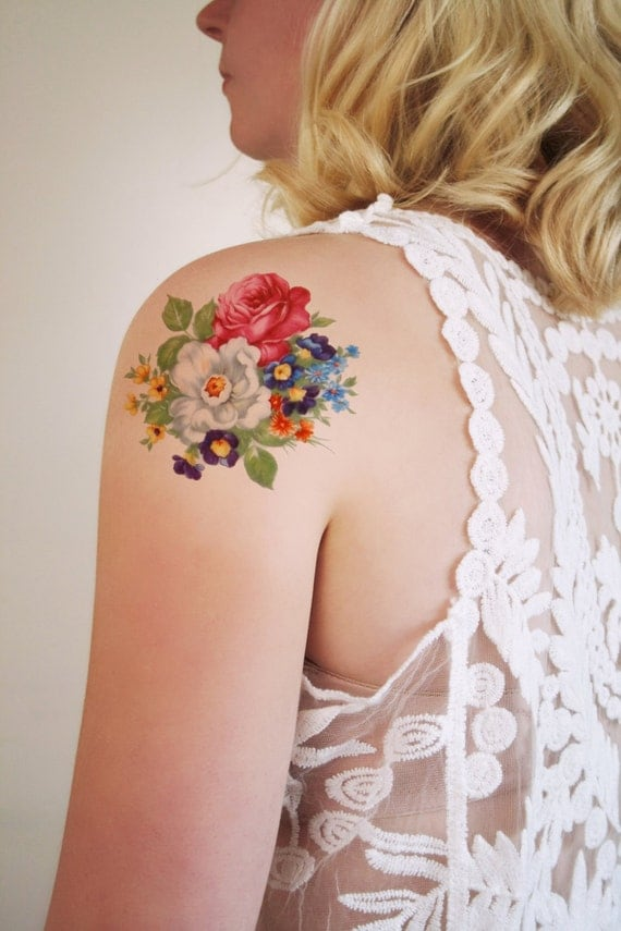 round floral temporary tattoo bohemian temporary by