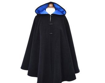 Wool Cloak, Black Hooded Cloak, Wool Hooded Cape, Plus Size Cape Coat, Medieval Cloak, Black Hooded Poncho, Custom Made
