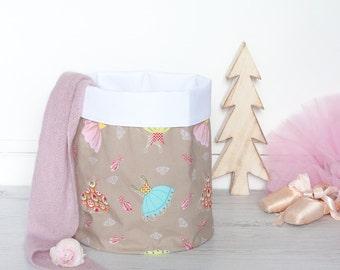 M Fabric Basket, Toy Storage, Storage Basket, Storage Bin, Nursery Storage, Project Bucket // Ballet Pattern // Blue Yellow Pink