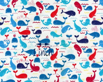 Whale Baby Quilt Fabric, Timeless Treasures Mini-C1675, Beach, Ocean, Nautical Fabric, Children's Nautical Quilt Fabric, Cotton Sea Fabric