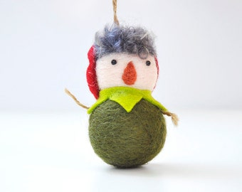 Needle felted Christmas ornament, Peter pan ornament, needle felted ornaments, green ornament, felt ornaments, Christmas decorations