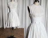 Edelweiss dress | vintage 50s dress | white cotton 50s dress | vintage 1950s summer dress | R&K Originals | white lace inset dress