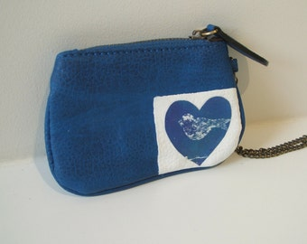 Upcycled purse, makeup purse, makeup pouch, coin purse, coin pouch, blue wristlet, blue purse, bird purse, blue bird pouch, small blue purse