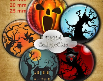 12 mm, 20mm,25 mm 1 inch Circle Digital Collage Sheets Halloween Bottle Cap Images 1' Button Bottle Cap Image Round Circles