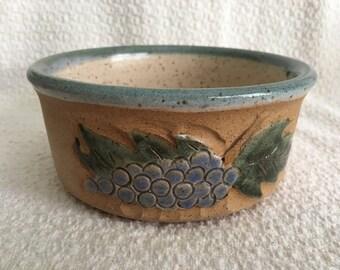 Pottery Bowl Grape Pattern, Hand Painted Raised Grape Pattern, Blue Rim, Signed,Pottery Dish, Raised Grape Design, Purple Grape Pottery