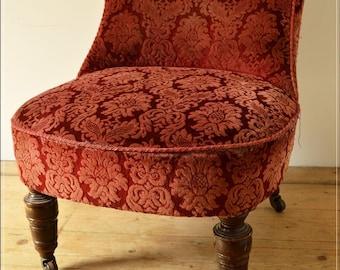 Victorian chair bedroom nursing fireside antique on castors