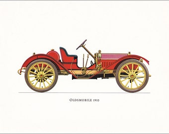American Oldsmobile 1910 veteran car motoring red vintage print illustration home office décor boy's nursery 9.5 x 7 inches