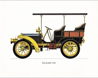 Packard 1904  American veteran car motoring vintage print illustration home office décor boy's nursery 9.5 x 7 inches