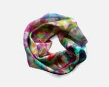 Small square silk scarf, lightweight soft modern neck scarf, silk printed fabric, purple and teal, unique women gifts ideas, accessories UK