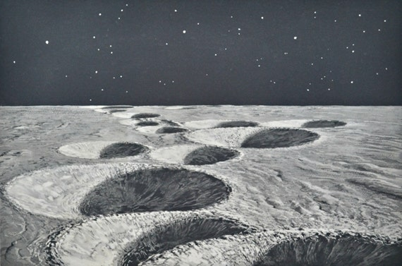 Lunar craters. Moon engraving. Astonomy print. Old book plate, 1937. Antique  illustration. 78 years lithograph. 9'4 x 12'1 inches.
