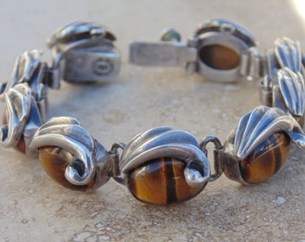 Vintage 970 Mexican Silver and Tigers Eye Bracelet ~ 68 Grams